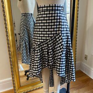 Eliza J Gingham Plaid Hi Low Skirt